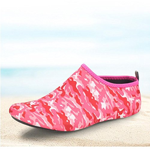 HLHN Shoes Beach Snorkeling Diving Shoes Outdoor Sport Drying Barefoot Men Swim Socks Unisex Red Print Women Quick Yoga Breathable Water Surf AtrAw7