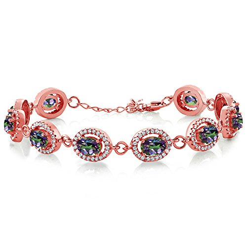 Gem Stone King 12.38 Ct Oval Green Mystic Topaz 18K Rose Gold Plated Silver 7.5inches Bracelet