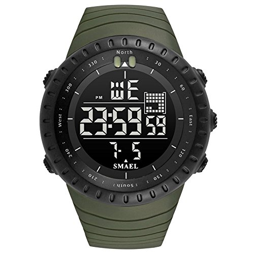 Large Digital Military Quartz Sport Watches for Men Analog Clock LED Wristwatch (Marine Resin Clock)