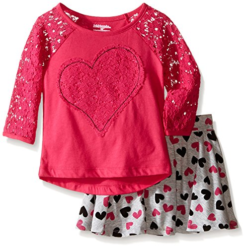 Kidtopia Little Girls' Toddler 2 Piece Set-Lace Raglan Sleeve Heart Applique with Printed Skirt, Fuchsia, 2T (2 Piece Printed Hearts)