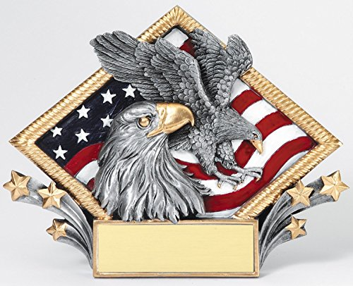 Etch Workz Customize Resin Casting Eagle Award - Diamond Plate RDP08 Series American Eagle Resin Trophy - Gold Plated - Engraved & Personalized Free