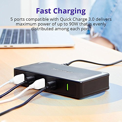 Tronsmart 90W U5TF Titan Plus 5 Ports USB Desktop Charger with Quick Charge 3.0 & VoltiQ for All iOS & Android Devices