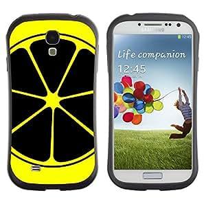 "Pulsar iFace Series Tpu silicona Carcasa Funda Case para SAMSUNG Galaxy S4 IV / i9500 / i9515 / i9505G / SGH-i337 , Limón Arte Amarillo Negro Nuclear Symbol Frutas"""