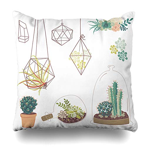 Pandarllin Throw Pillow Cover Bridal Green Cactus Succulents Flowers Glass Terrariums Terrarium Vintage Plant Floral Garden Flora Cushion Case Home Decor Design Square Size 20 x 20 Inches Pillowcase