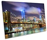 Canvas Geeks - New York Night City Twin Towers - 135cm wide x 90cm high SINGLE CANVAS WALL ART Picture Print