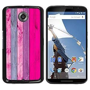 ZONECELL Negro Borde Trasera Funda Imagen Carcasa Diseño Tapa Cover Skin Case para Motorola NEXUS 6 / X / Moto X Pro - verticales de color rosa líneas púrpuras textura de madera