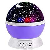 Moredig Night Lights for Children Rotation Night Projection Lamp for Kids Children Bedroom Bed Christmas Purple