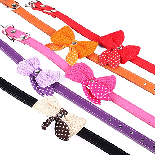 Pinleg Pet Collars Necklace Knit Bowknot Adjustable Leather Dog Puppy Neck Strap for Puppy Cute Collars For Small or Medium Dogs Cats (Purple)