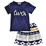 FAYALEQ Baby Girls Letters Print Short Sleeve Tops and Skirt Outfits Party Dress Set Dark Blue
