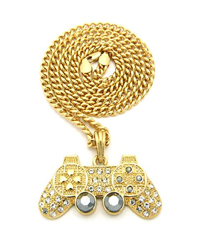 Game Pendant - NYFASHION101 Iced Out Game Controller Micro Pendant with 5mm 24
