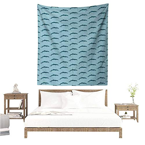 (Wall Hanging Tapestry Dolphin Ocean Fauna Collection Dolphin Silhouette with Blue Color Scheme Abstract 51W x 60L INCH Suitable for Bedroom Living Room Dormitory )