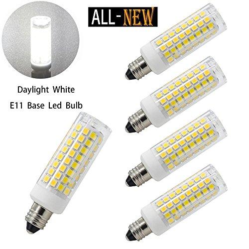 E11 led bulbs, All-New (102LEDs) Mini Dimmable Candelabra Base, T4 /T3 JD Type Clear E11 light bulbs,7.5 Watt, 75W 100W halogen bulbs replacement,850 lumens, 110V, 120V, 130V, Daylight 6000K(4 - T4 Type