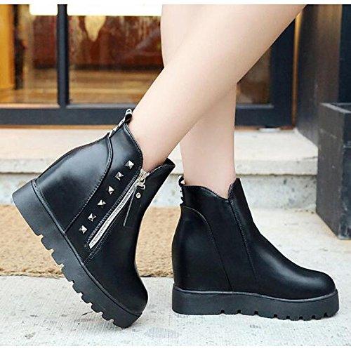 cuero Red Real Calf de Otoño de combatir redonda plana Invierno Zapatos Negro for casual HSXZ Rojo Mid Mujer botas botas botas Toe WYxApw1Oq
