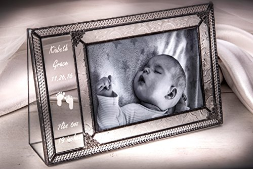 J Devlin Pic 393-46H EP573 Personalized Baby Picture Frame Engraved Glass 4x6 Horizontal Photo Frame by J Devlin Glass Art