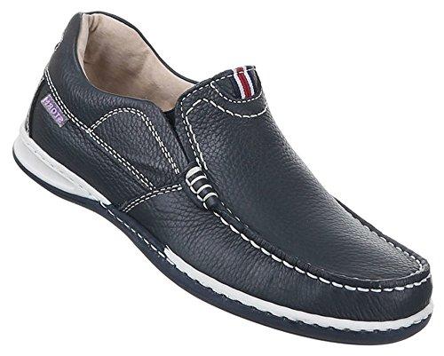 Herren Schuhe stiefel stiefeletten Leder Mokassins Dunkelblau