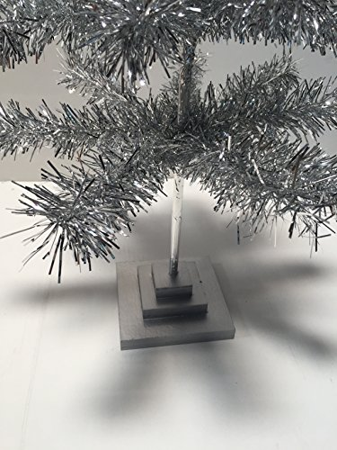 24'' Silver Christmas Tinsel Tree Retro Style Silver Feather Tinsel Tree by Lee Display (Image #4)