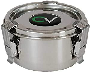 CVault Stainless Steel Airtight Storage Humidity Container in Small w/ Humidity Pack