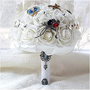 Luvier Retro Butterfly Dragonfly Shape Crystal Rose Wedding Bouquet for Bridal Artificial Bridesmaid Flower Bouquets for Wedding 75