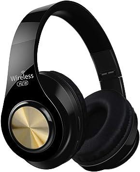 PMWLKJ - Auriculares inalámbricos Hz10 por Encima de la Oreja, Bluetooth, Plegables, Auriculares Ajustables con micrófono para TV, teléfono móvil, PC, Oro Negro: Amazon.es: Electrónica