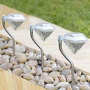 Luces solares de jardín, diseño de diamante–4unidades