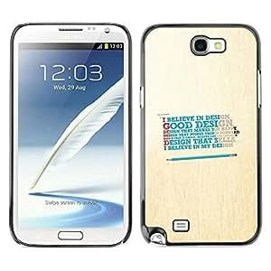 Caucho caso de Shell duro de la cubierta de accesorios de protección BY RAYDREAMMM - Samsung Note 2 N7100 - Believe In Good Design
