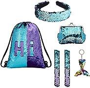 EAST-F 6 Pieces Mermaid Set for Kids Girls with Reversible Sequin Drawstring Backpack, Bonus Slap Bracelet, Pu