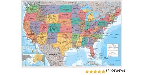 1art1 Mapas Póster con Marco (Plástico) - Mapa Geográfico De Los Estados Unidos De América, En Inglés (91 x 61cm): Amazon.es: Hogar
