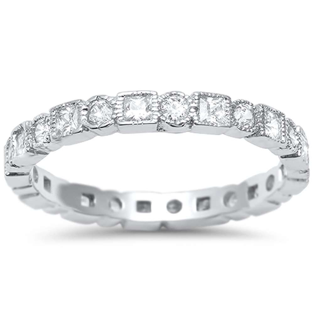 Oxford Diamond Co Sterling Silver Antique Style Bezel Set Eternity Stackable Ring Sizes 6