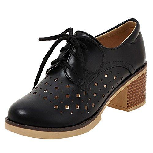 COOLCEPT Women Fashion Lace Up Court Shoes Black