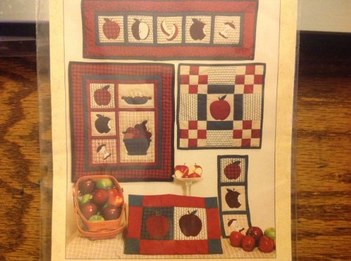 Apple Harvest 218, By Deer Creek Creations, Apples Inspired Sewing Appliqué 9-patch (Inspired Placemat)