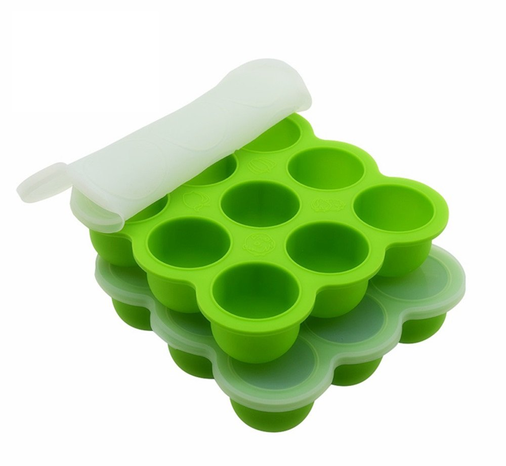 2Packs Silicone Egg Bites Molds, Fits Instant Pot 8 qt Pressure Cooker, 9Cups Egg Poacher and Egg Cooker, with Silicone Clip-On Lid (Green)
