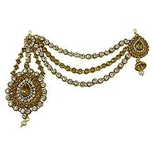 Banithani Indian Goldtone Forehead Maang Tikka Head Chain Matha Patti Passa Hair Accessory