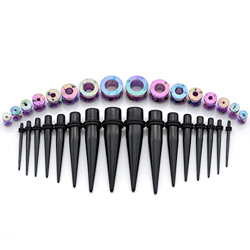 PiercingJ 32pcs 12G-1/2 (2-12mm) Black Acrylic Ear Tapers Stretching Kit + Colorful Acrylic Tunnel Gauge Set