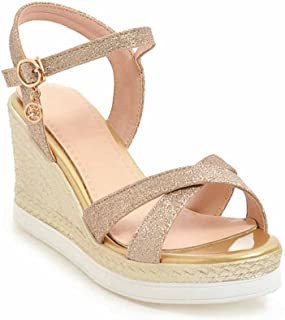 Femmes Wedge Open Toe Sandals Summer New Sequin Platform Souliers simples SHINIK