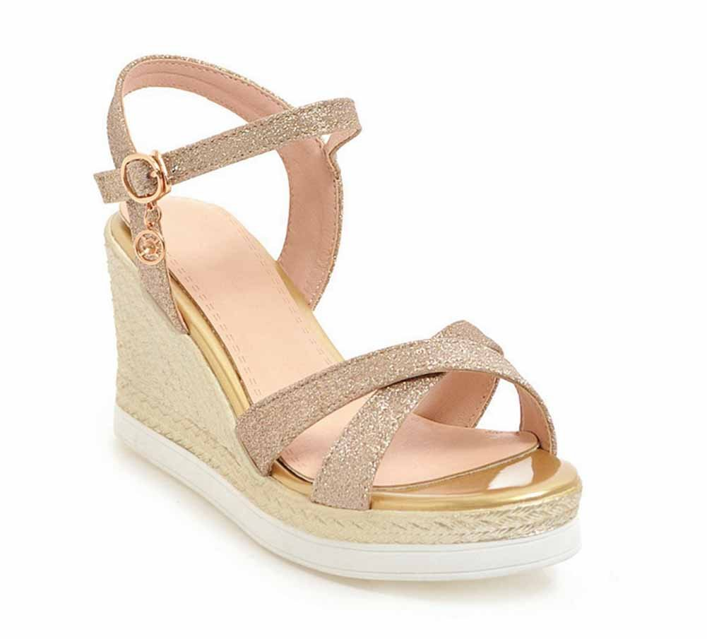 Femmes Wedge Open Toe Sandals Summer New Sequin Platform Souliers simples
