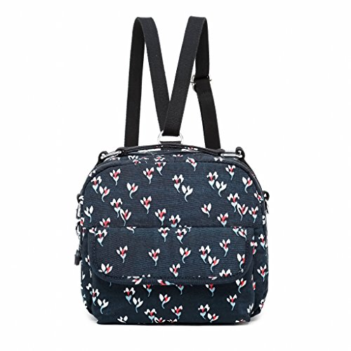Bags Travel Mini Bag Backpack Fvstar Purse Women Passport Cute Blue Floral Dark Messenger Shoulder Eww80q