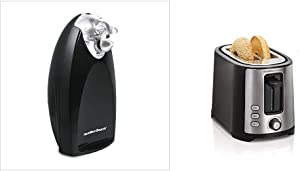 Hamilton Beach Classic Chrome Heavyweight Electric Automatic Can Opener & 2 Slice Extra Wide Slot Toaster with Shade Selector, Toast Boost, Auto Shutoff, Black (22633)