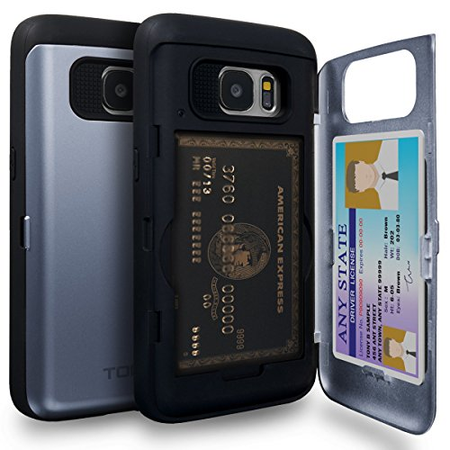 TORU CX PRO Galaxy S7 Wallet Case Blue with Hidden ID Slot Credit Card Holder Hard Cover & Mirror for Samsung Galaxy S7 - Orchid Gray
