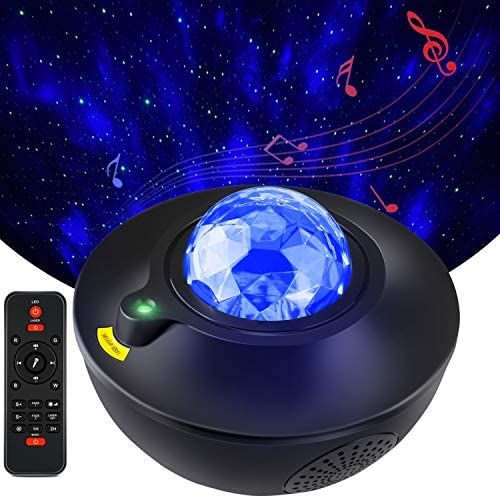 Starry Light Projector, Liwarace Star Light Projector with Music Speaker Remote Control Adjustable Brightness Multiple Show Mode Night Light Projector for Baby Kid Bedroom Home Theatre