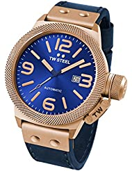 TW Steel CS65 Mens Canteen Leather Blue Dial Blue Strap Automatic Watch