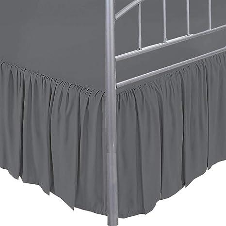 Dust Ruffle Bed Skirt Dark Grey with Split Corner Polycotton 400 Tc Easy Fit