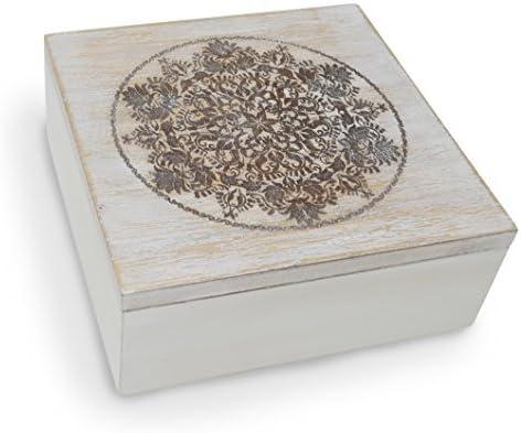 gbhome gh-6795 decorativa de madera caja de almacenaje con grabado ...