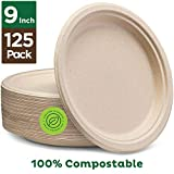 Stack Man 100% platos de papel compostables de 9 pulgadas [paquete de 125] bagazo desechable natural de alta calidad, ecológico, hecho de fibras de caña de azúcar, 9 pulgadas, color café