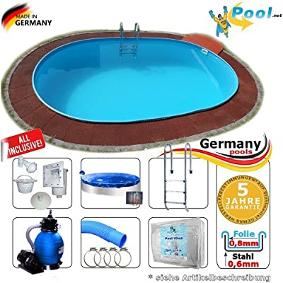 Piscina 4, 50 x 3, 00 x 1, 20 Set Acero Pared Pool ovalado 4, 5 x 3, 0 x 1, 2 de piscina ovalada Platillos Acero Pared Platillos fertigpool ovalado Pool
