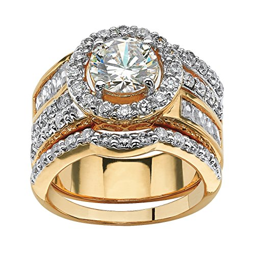 Lux Round and Baguette White Cubic Zirconia 18k Gold-Plated 2-Piece Halo Bridal Set -