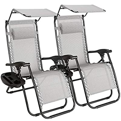 Superworth-Set-Of-2-Thicken-Gray-Folding-Zero-Gravity-Chairs-Sun-Lounger-Recliner-For-Beach-Patio-Garden-Camping-Outdoor-With-Canopy-200KG-Weight-Capacity