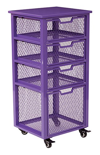 OSP Designs CLY04AS-512-osp Clayton 4 Drawer Rolling Cart In Metal Finish Frame, Purple by OSP Designs