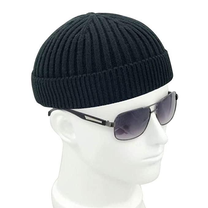 47025e93fd835 Vintage Fashion Men Knitted Hat Beanie Skull Cap Sailor Cap Cuff Brimless  Black Navy Grey Retro