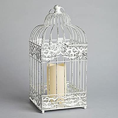 Gerson Metal Square Bird Cage Lantern with 3 by 6-Inch Resin LED Candle