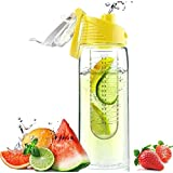 BYCE Sport Water Bottle with Fruit Infuser(assorted colors) , BPA Free, 27oz. (Yellow cover)